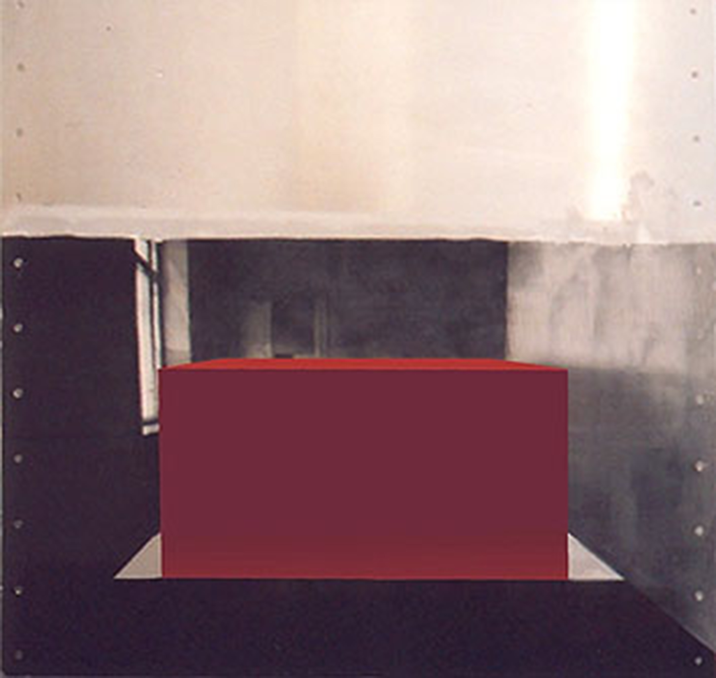 Red cube in white room big