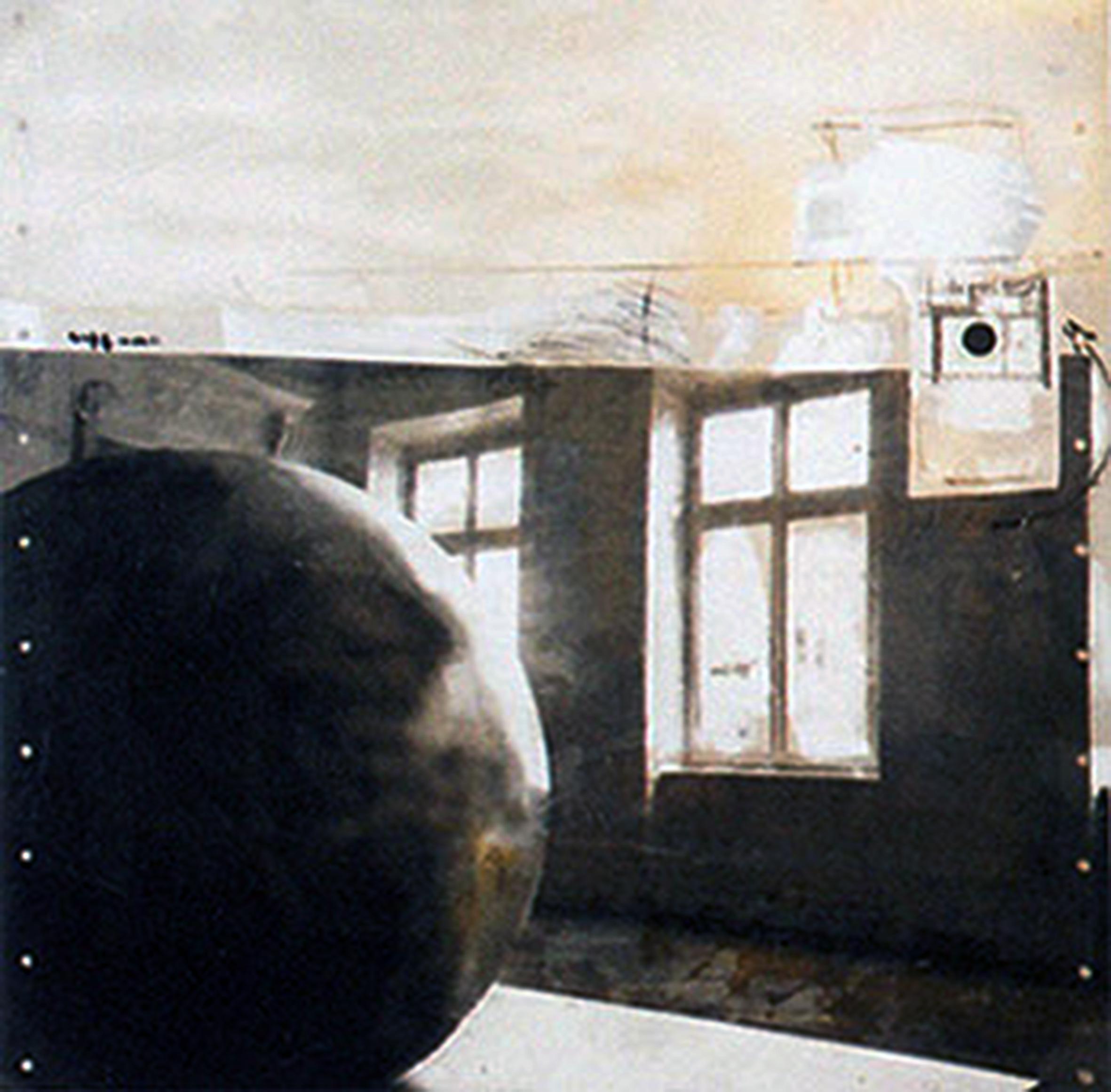 black globe in white area